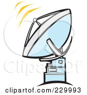 Royalty Free RF Clipart Illustration Of A Satellite Pointing Towards The Sky With Radar Signals by xunantunich