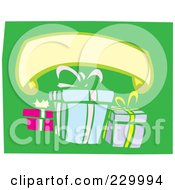 Royalty Free RF Clipart Illustration Of A Blank Banner Over Birthday Presents On Green by xunantunich
