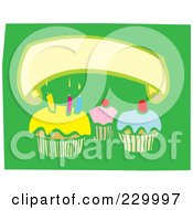 Blank Banner Over Birthday Cupcakes With Candles On Green
