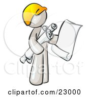 White Man Contractor Or Architect Holding Rolled Blueprints And Designs And Wearing A Hardhat