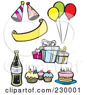 Royalty Free RF Clipart Illustration Of A Digital Collage Of Birthday Party Items by xunantunich