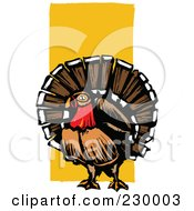 Royalty Free RF Clipart Illustration Of A Wild Turkey Bird Over Orange by xunantunich