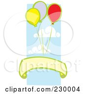 Royalty Free RF Clipart Illustration Of A Blank Banner Under Party Balloons In The Sky by xunantunich