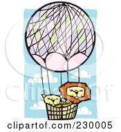 Royalty Free RF Clipart Illustration Of A Lion Pair In A Hot Air Balloon In A Blue Cloudy Sky