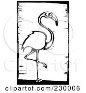 Black And White Woodcut Styled Flamingo With A Black Border