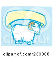 Royalty Free RF Clipart Illustration Of A Blank Banner Over A Sheep Eating Hay On Blue by xunantunich