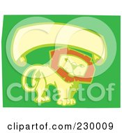 Royalty Free RF Clipart Illustration Of A Blank Banner Over A Thoughtful Lion On Green