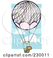 Royalty Free RF Clipart Illustration Of Lions In A Hot Air Balloon In A Blue Cloudy Sky