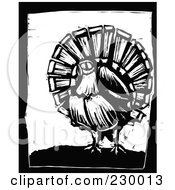 Royalty Free RF Clipart Illustration Of A Black And White Woodcut Styled Turkey With A Black Border