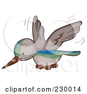 Royalty Free RF Clipart Illustration Of A Cute Flying Hummingbird