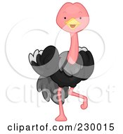 Royalty Free RF Clipart Illustration Of A Cute Ostrich by BNP Design Studio