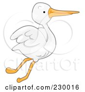 Royalty Free RF Clipart Illustration Of A Cute Flying Pelican