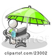Clipart Illustration Of A Traveling White Business Man Sitting Under An Umbrella At A Table Using A Laptop Computer