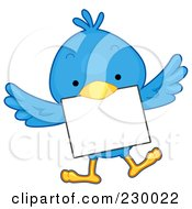 Royalty Free RF Clipart Illustration Of A Cute Blue Bird With A Blank Sign 6