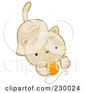 Royalty Free RF Clipart Illustration Of A Cute Beige Kitten Playing With A Ball Of Yarn