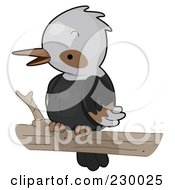 Royalty Free RF Clipart Illustration Of A Cute Perched Kingfisher