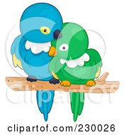 Royalty Free RF Clipart Illustration Of Two Cuddling Love Birds