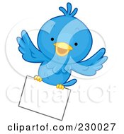 Royalty Free RF Clipart Illustration Of A Cute Blue Bird With A Blank Sign 5