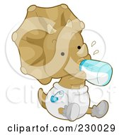 Royalty Free RF Clipart Illustration Of A Cute Baby Triceratops Dino Holding A Bottle And Wearing A Diaper