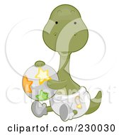 Royalty Free RF Clipart Illustration Of A Cute Baby Brontosaurus Dino Holding A Ball And Wearing A Diaper