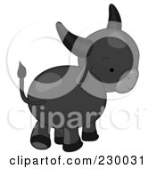 Royalty Free RF Clipart Illustration Of A Baby Water Buffalo Walking Away by BNP Design Studio