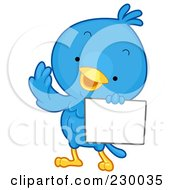 Royalty Free RF Clipart Illustration Of A Cute Blue Bird With A Blank Sign 2