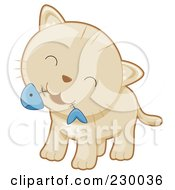 Royalty Free RF Clipart Illustration Of A Cute Beige Kitten With A Fish Bone In His Mouth