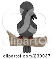 Royalty Free RF Clipart Illustration Of A Cute Perched Crow by BNP Design Studio