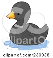 Royalty Free RF Clipart Illustration Of A Cute Black Duck by BNP Design Studio