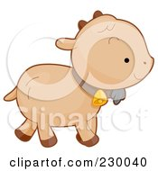 Royalty Free RF Clipart Illustration Of A Cute Baby Goat Walking To The Right