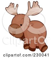 Royalty Free RF Clipart Illustration Of A Cute Moose Walking Away