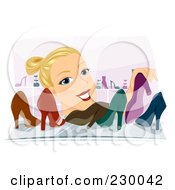 Royalty Free RF Clipart Illustration Of A Blond Woman Organizing Shoes On A Shelf by BNP Design Studio
