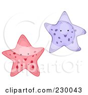 Royalty Free RF Clipart Illustration Of Two Happy Starfish by BNP Design Studio