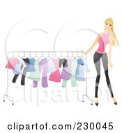 Royalty Free RF Clipart Illustration Of A Woman Pushing A Clothing Rack by BNP Design Studio