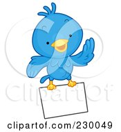 Royalty Free RF Clipart Illustration Of A Cute Blue Bird With A Blank Sign 4