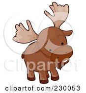 Royalty Free RF Clipart Illustration Of A Cute Curious Moose by BNP Design Studio