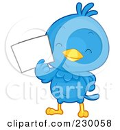 Royalty Free RF Clipart Illustration Of A Cute Blue Bird With A Blank Sign 1