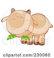 Royalty Free RF Clipart Illustration Of A Cute Baby Goat Eating Grass