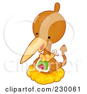 Royalty Free RF Clipart Illustration Of A Cute Baby Pterodactyl Dino In A Nest