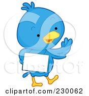 Royalty Free RF Clipart Illustration Of A Cute Blue Bird With A Blank Sign 3
