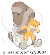 Royalty Free RF Clipart Illustration Of A Cute Baby Stegosaurus Dino Holding A Teddy Bear And Wearing A Diaper