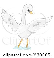 Royalty Free RF Clipart Illustration Of A Cute Mute Swan Wading by BNP Design Studio