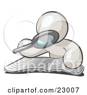 Clipart Illustration Of A White Man Using A Magnifying Glass To Examine The Facts In The Daily Newspaper
