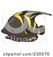 Royalty Free RF Clipart Illustration Of A Cute Black And Yellow Angelfish by BNP Design Studio