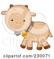 Royalty Free RF Clipart Illustration Of A Cute Baby Goat Walking To The Left by BNP Design Studio