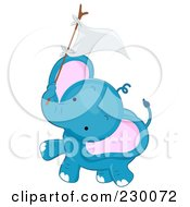 Royalty Free RF Clipart Illustration Of A Baby Blue Elephant Holding Up A Flag On A Stick by BNP Design Studio