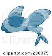 Royalty Free RF Clipart Illustration Of A Cute Blue Flying Fish by BNP Design Studio