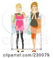 Royalty Free RF Clipart Illustration Of A Woman Helping Her Friend Pick Out A Dress
