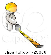 Clipart Illustration Of A White Man Contractor Wearing A Hardhat Kneeling And Measuring