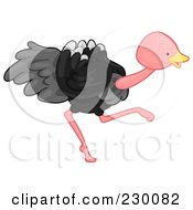 Royalty Free RF Clipart Illustration Of A Cute Ostrich Running by BNP Design Studio